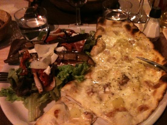 demi salade joub et pizza savoyarde