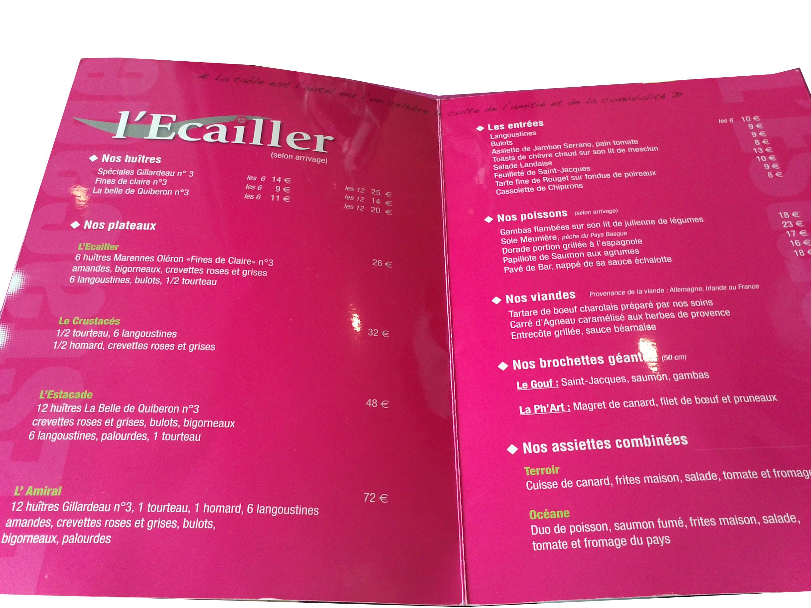 Carte du restaurant casino cavalaire