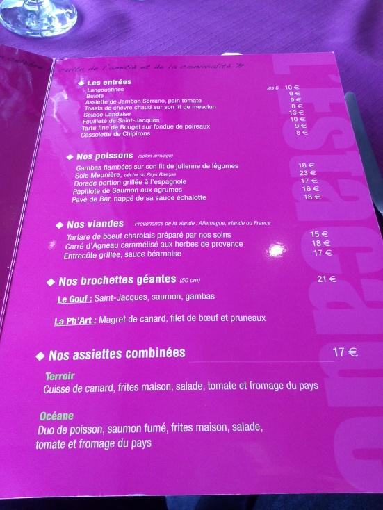 carte restaurant estacade capbreton