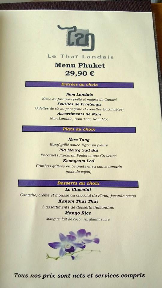 Menu à 29,90€ Le Thai Landais à Capbreton