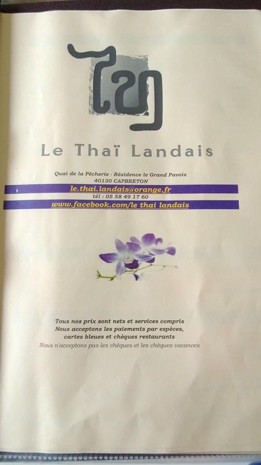 menu du thai landais a capbreton