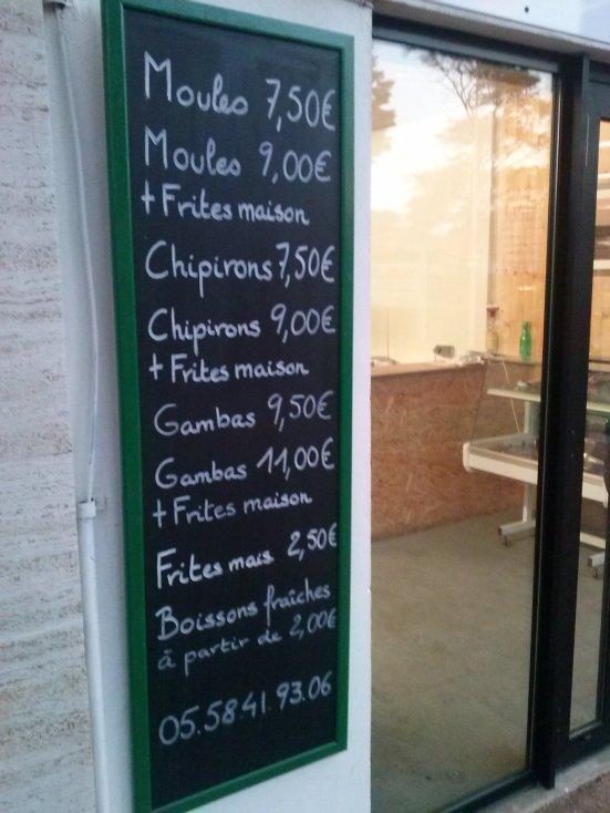 Menu Restaurant Fruits de Mer à emporter Les Moules à Jéjé à Capbreton