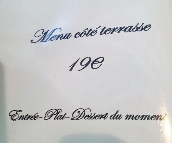 """Menu """"Côté Terrasse"""" du restaurant Le Régalty à Capbreton"""
