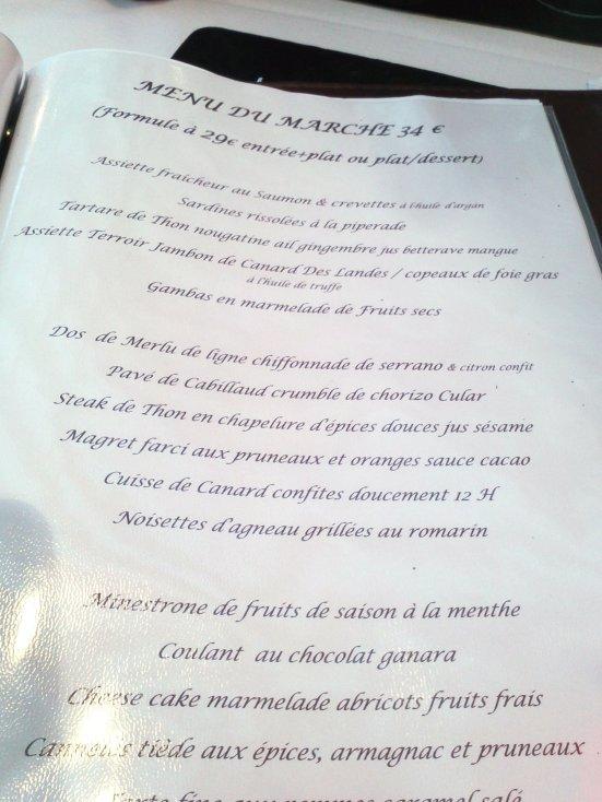 Le Menu du Marché Restaurant le Régalty à Capbreton