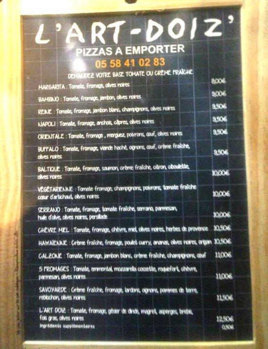 Carte des Pizzas de L'artdoiz à Capbreton