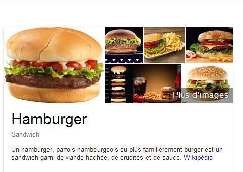 Hamburger selon Google et Wikipédia