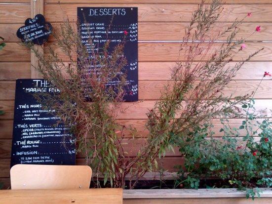 menu du café bleu à hossegor