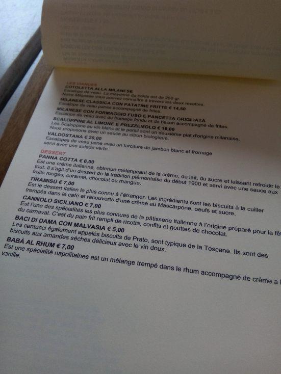 La carte des viandes et des desserts